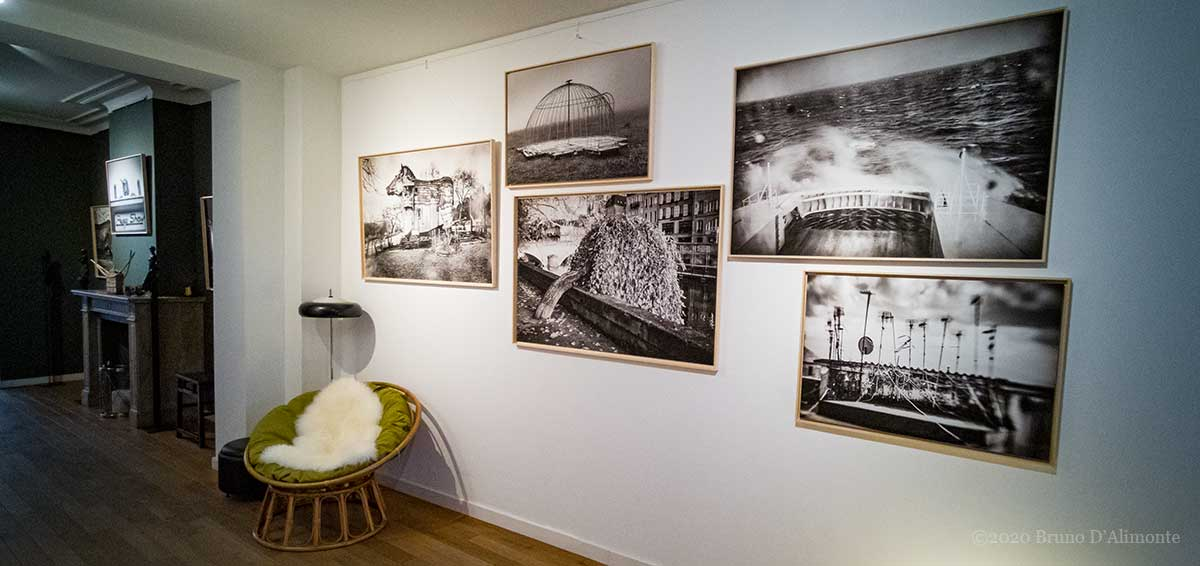 PEEP ART Gallery interiors during the Oct 2020 exhibition of Bruno D'Alimonte SEPIA IMAGINARIUM set.